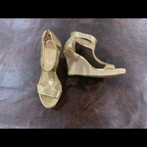 Michael Kors gold wedge sandals, worn once!